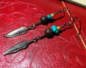 Native American Inspired Feather Earrings - Turquoise and Red Lava Rock -