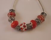 Murano glass beads and Opaque red with Rhinestones Pandora style/ European charm bracelet (ECB 1009)