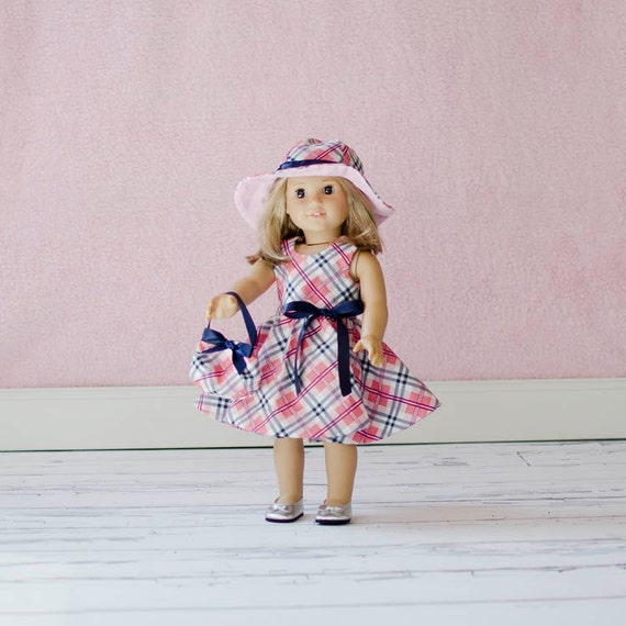 3 piece pink and navy plaid dress with hat and purse for American Girl Doll