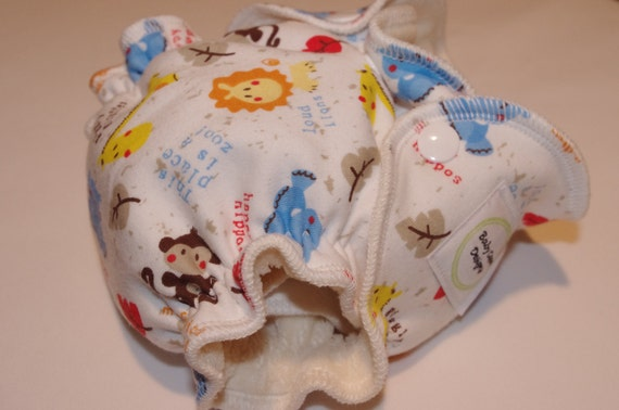 Newborn Organic Fitted Diaper 5-12lbs in Zoo animals on white cotton knit
