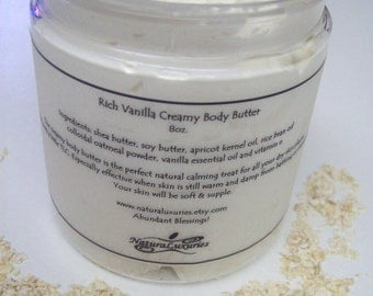 Rich Vanilla, Colloidal Oatmeal & Shea Butter, VEGAN, Sensitive Skin Body Butter 8 oz.