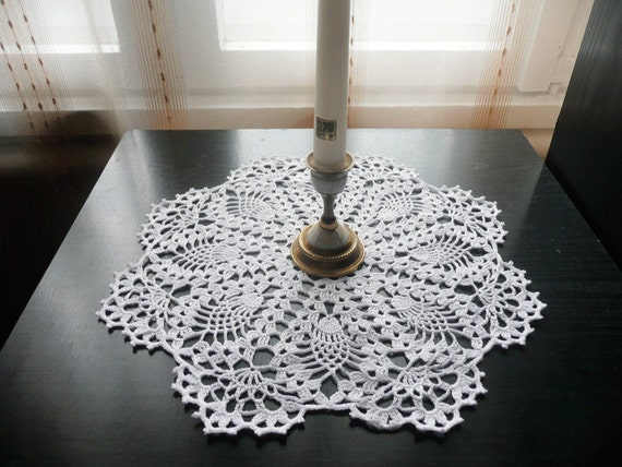 White Pineapple Crochet Doily