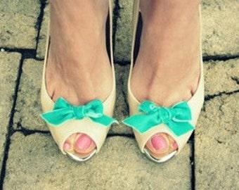 Blue velvet bow shoe clips