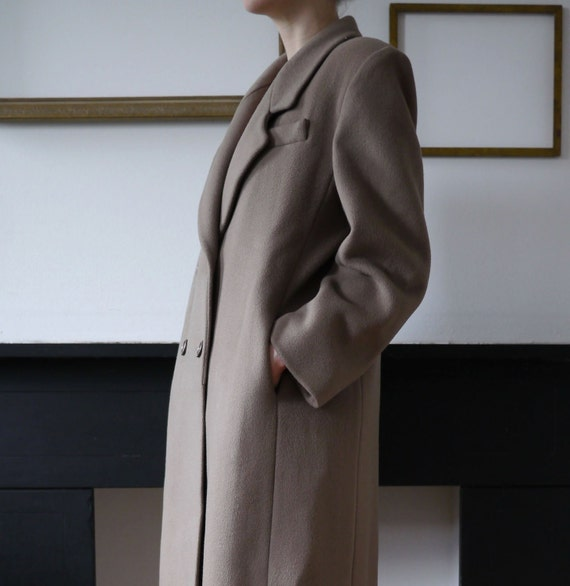 Long Vintage Wool Coat Taupe/Light Brown
