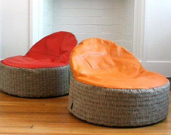 modern kids bean bag chair cover - leather seat - made to order