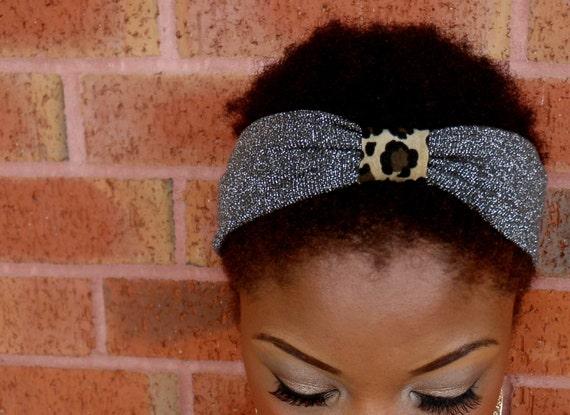 Turban Headband: Betsey Johnson Inspired / Glitter Leopard
