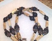 Jasper, Black and Copper 3 strand Bracelet