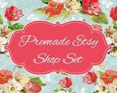 Etsy Banner Set - Premade Etsy Banner - Etsy Shop Banner - Pink Floral - Icon Included!