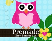 Etsy Banner Set - Premade Etsy Banner - Etsy Shop Banner - Owl And Bumble Bee Banner Set - icon Included!