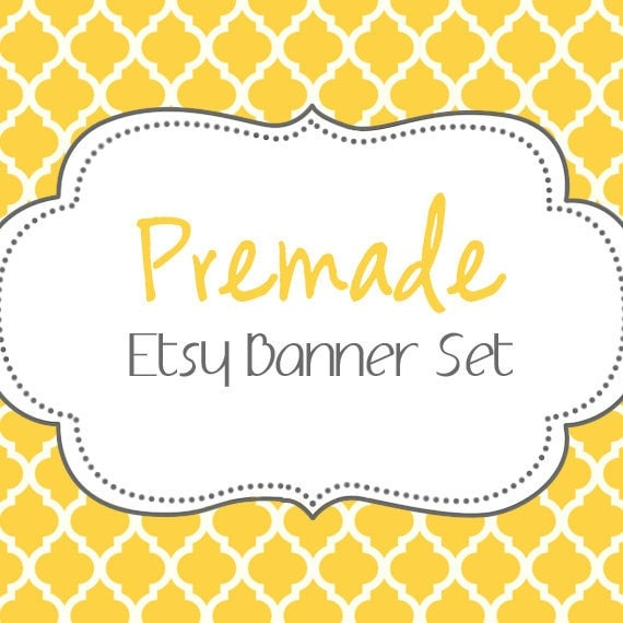 Etsy Banner Set - Premade Etsy Banner - Etsy Shop Banner - Trendy Yellow Etsy Set 114 - Icon Included!