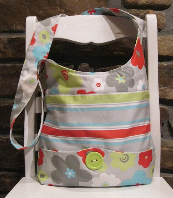 Handmade Fabric Bags Purses - Shoulder Bag - Exterior  Pocket - Grey Floral Premier Prints Fabric