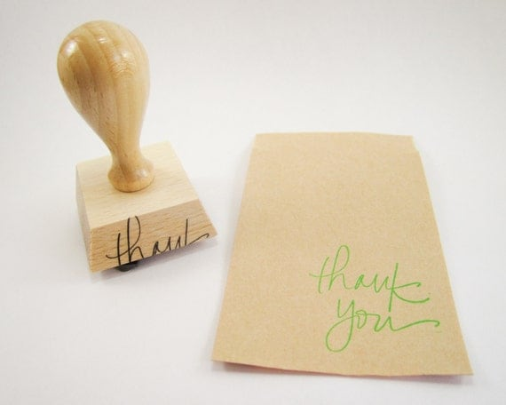 Thank You Stamp - hand lettered thanks rubber stamp - 1 1/4 inches - READY TO SHIP