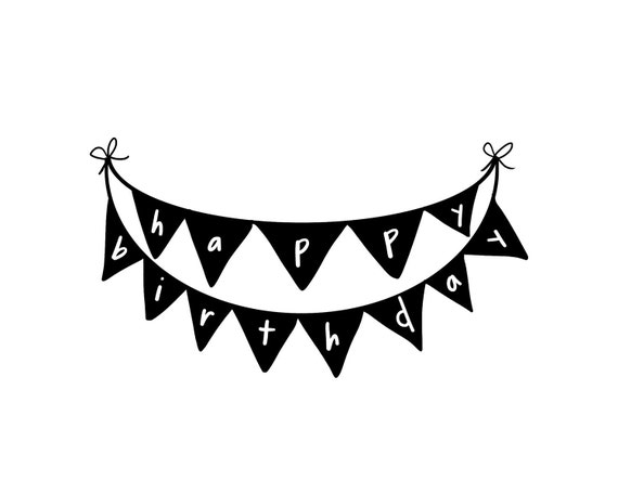 """Happy Birthday Stamp - Happy Birthday Bunting Banner 2"""" Rubber Stamp ready to ship - ON SALE"""