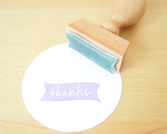 Handwritten thanks banner rubber stamp with wood handle measures one and a half inches READY TO SHIP