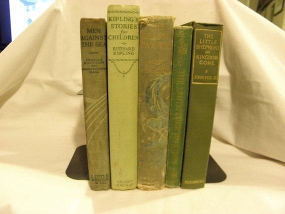 Green Shabby Chic Vintage Books