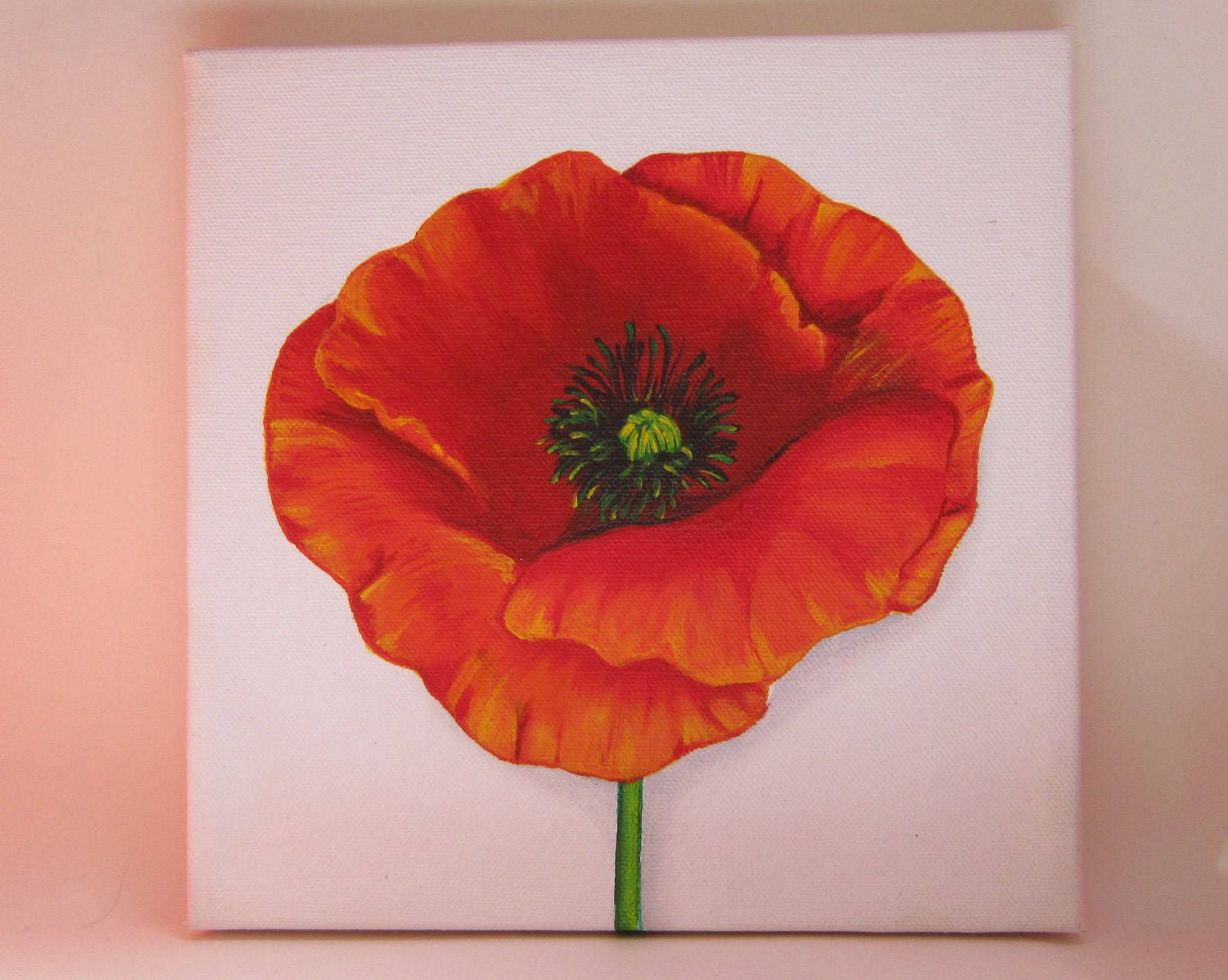 Original square canvas acrylic painting orange poppy on white for How paint on canvas