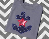 Fourth of July Anchor Applique Shirt. Nautical Theme. Summer Wear