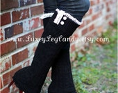 Lace and Button Leg Warmers / Boot Socks In Black. Perfect with boots, heels or flats (Now with straight bottom)