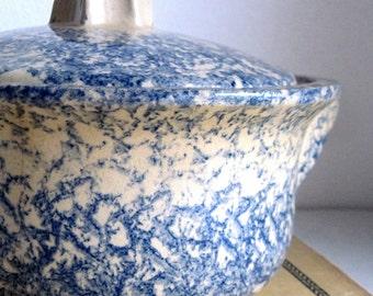 Blue Spongeware Pottery, Spongeware Casserole, Spatterware, Vintage Pottery Dish, Blue and White Pottery, Robinson Ransbottom Pottery, RRP