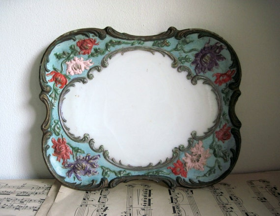 Victorian Hand Painted Milk Glass Vanity Tray