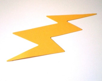12 Die Cut Yellow Lightning Bolts
