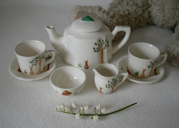 Beautiful vintage toy tea for two hand painted with bunny rabbits
