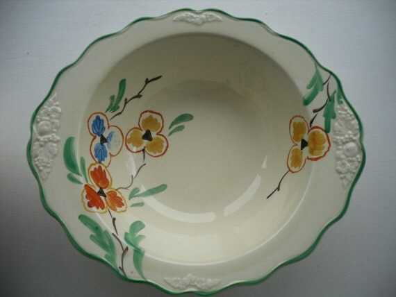 Six Dessert Bowls and Serving Bowl by Crown Ducal