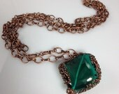 Emerald City Double Strand Copper and Emerald Green Glass Pendant Necklace