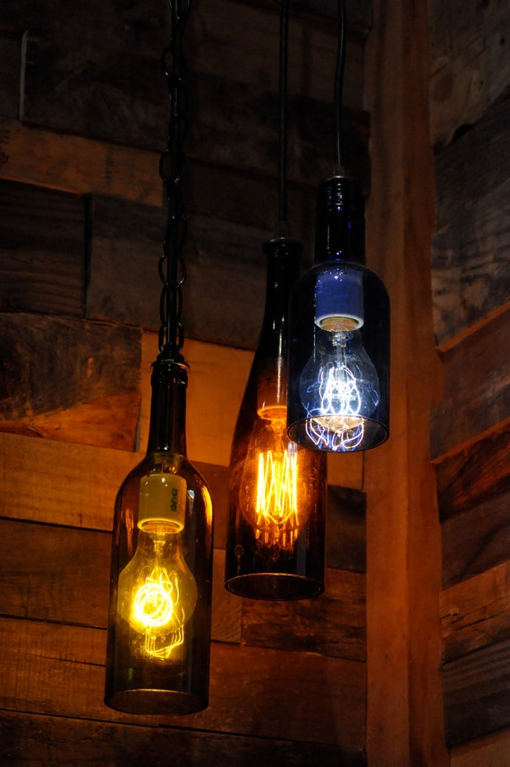 Items similar to recycled glass wine bottle pendant lamp with edison lightbulb on etsy - Wine bottle pendant light ...