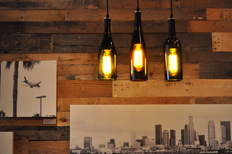 3 Wine Bottle Pendant Lamp Hanging Lamp Track By Moonshinelamp