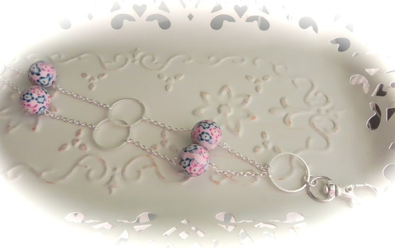 Pocketful of Flowers Blue and Pink Beaded ID Lanyard