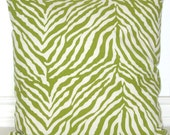 Custom Order: Ashley - 2 Lime Green Zebra Stripes Pillow Covers 16 x 16