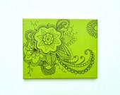Key Lime Green Flower Painting on Canvas, 8x10