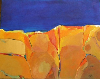 """Abstract original oil painting 16""""x20"""" on canvas New Mexico sky Jan Smiley"""