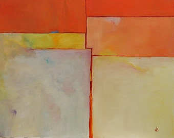 "Abstract oil painting original 16""x20"" canvas desert memories Jan Smiley"