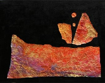 """Abstract landscape original painting 11""""x14"""" canvas mixed media metalic inks foil and paint Jan Smiley"""