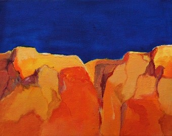 """Abstract original oil painting landscape red orange colbalt blue earth tone yellow 8""""x10"""" canvas Jan Smiley"""