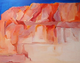 """Abstract original oil painting landscape 22""""x28"""" canvas red orange blue and lavender veins of gold by Jan Smiley"""