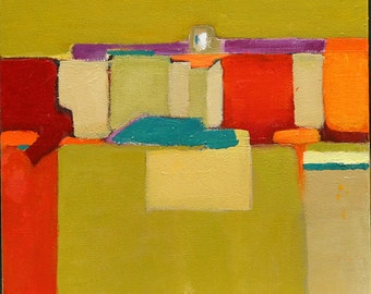 """original oil painting abstract Desert Sands Red Orange tourquise purple green 10""""x10"""" wrap around canvas Jan smiley"""