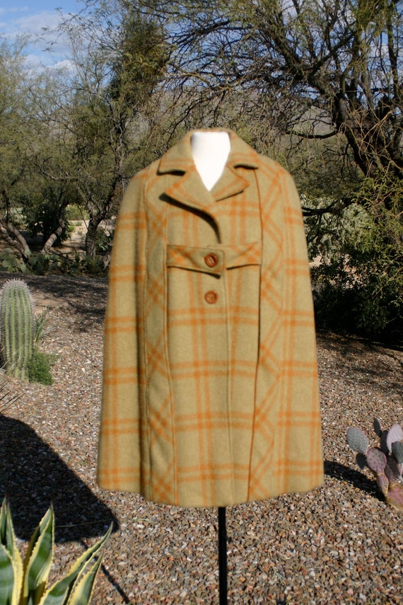 ON SALE Vintage 1960's Cozy Fall Winter  Wool Orange Plaid Cloak Poncho -  Size Large