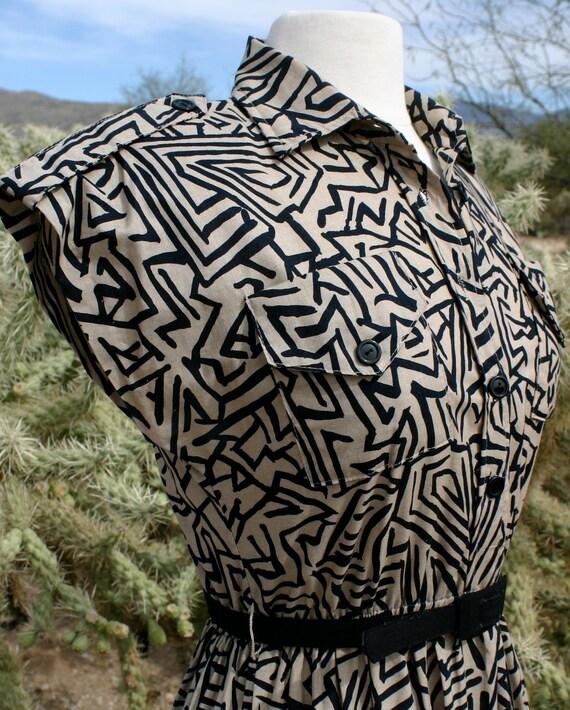 ON SALE Vintage 1980's Abstract Geometric / Tribal Print Sundress by Tabby - Size Medium