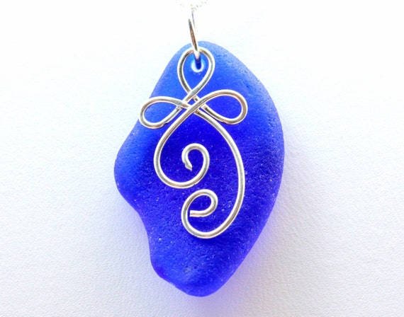 Blue Sea Glass Necklace OOAK - Sterling Silver Celtic Charm - Genuine Cobalt Sea Glass Jewelry