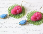 Skull earrings bright pink green blue vintage filigree lucite resin opaque rhinestones brass