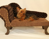 PETSY DECOR chaise lounge dog bed minky fabric Brown