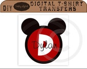 ON SALE Mickey Mouse Initial Personalized TShirt Design, Iron on transfer, cards, labels, tags, DIY Digital