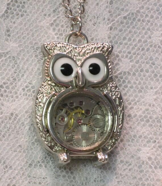 Silver Steampunk Owl Necklace - Jewelry by ThatsSoCoolStudio