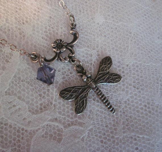 Dragonfly Necklace With Purple Swarovski Jewel - Steampunk Necklace - Silver Necklace - Jewelry by ThatsSoCoolStudio