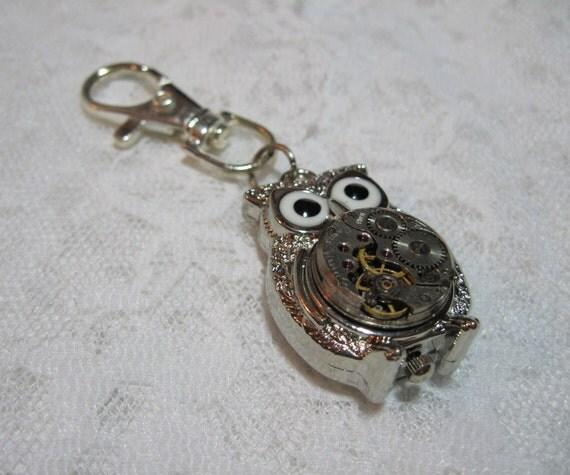 Steampunk Silver Owl Keychain External Watch Movement - Owl Keychain - Jewelry by ThatsSoCoolStudio