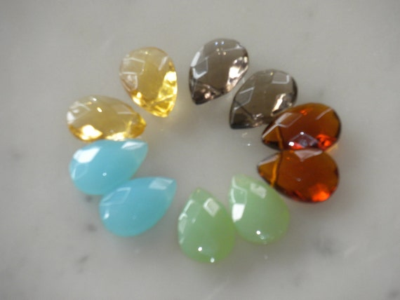 10pcs-12x18mm, faceted briolette, multi color, earrings, necklace, beads