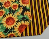 Set of 4 Reversible Cotton Quilted Placemats - Tuscan Sunflower with Stripe - floral/garden/gold/green